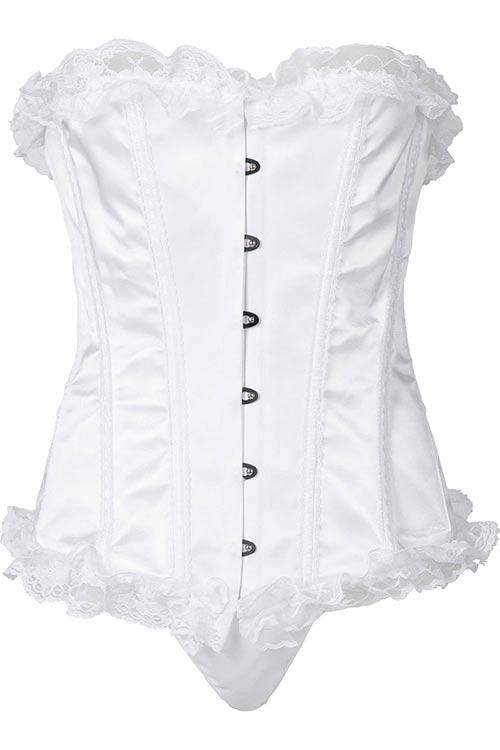 Andělsky bílý dámský korzet s krajkou