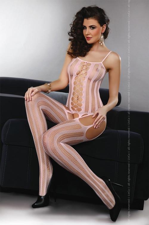 Jemně růžový extrémně sexy bodystocking Livia Corsetti