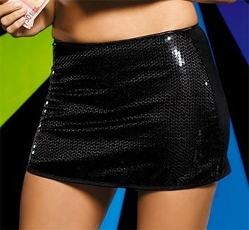 Černá mini sukně s lesklými flitry