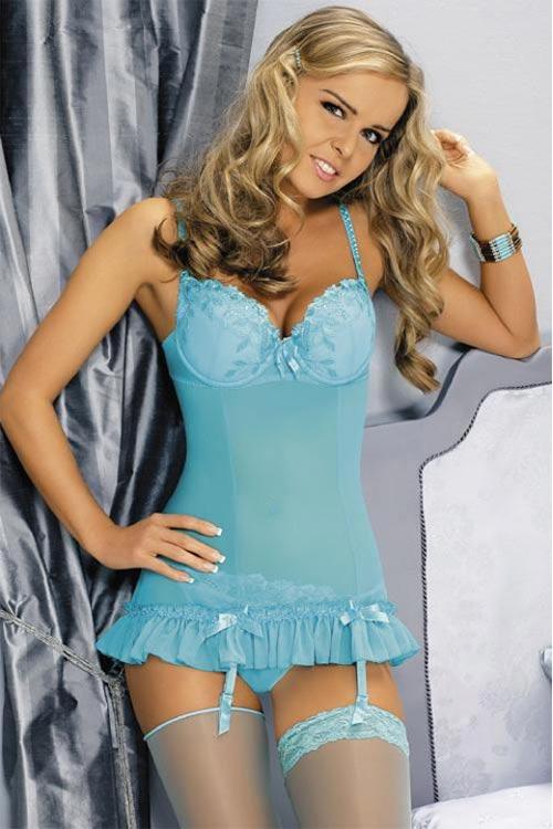 Nebesky modrý dámský korzet s všitými kosticemi