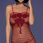 Červené erotické šaty/košilka D218 dress - Obsessive
