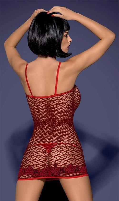 Síťované průhledné červené šaty