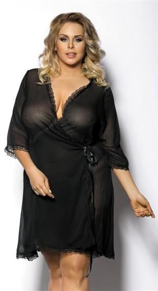 Černý dámský sexy župánek pro plnoštíhlé