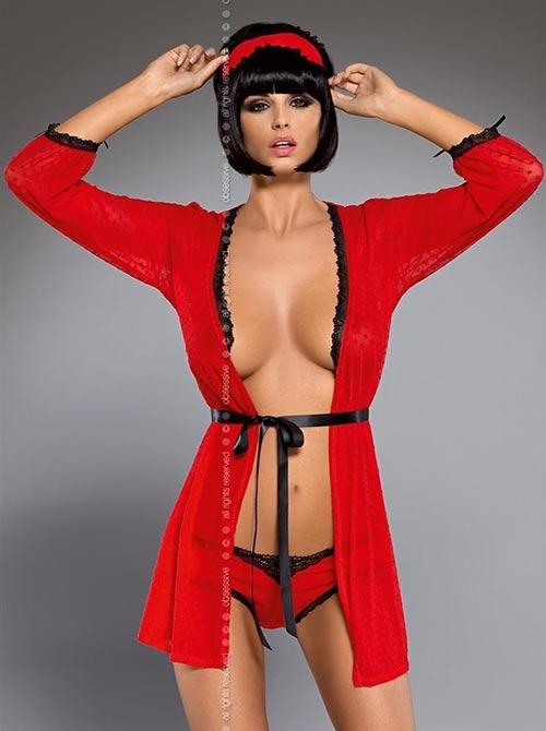 Červený župan Obsessive Truelove peignoir