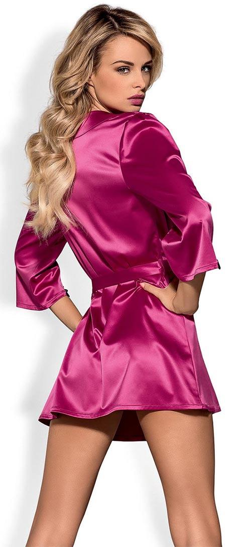 Dámský župan Obsessive Satinia robe pink