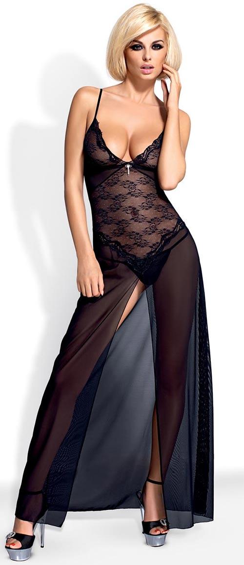 Dlouhý černý erotický župan Obsessive Charms gown