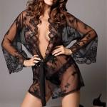 Průhledné dámské sexy kimono a string kalhotky