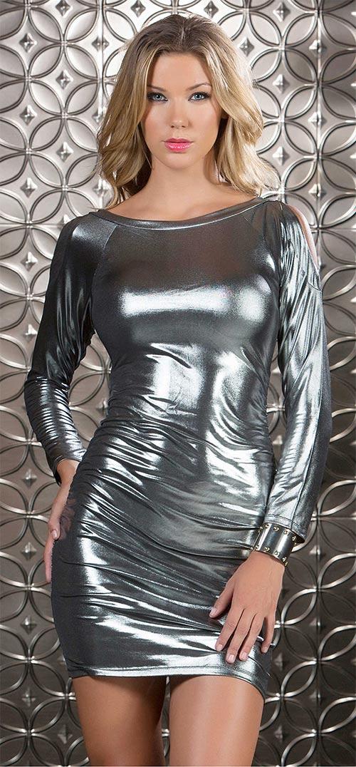 Sexy dámské šaty kovového vzhledu