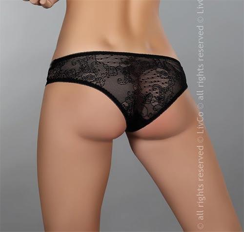 Černé průsvitné kalhotky