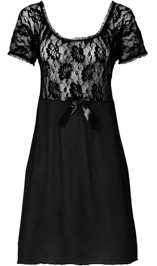 Černé šaty s průsvitným krajkovým horním dílem