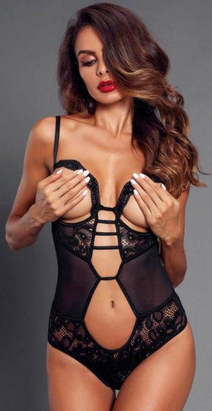 Dámské erotické body s odhalenými prsy