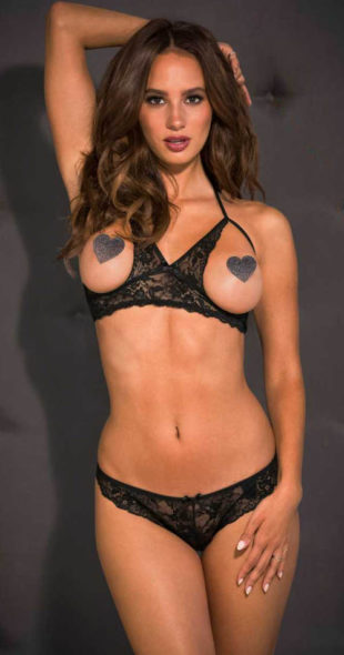 Krajkový erotický komplet - otevřená podprsenka a string kalhotky