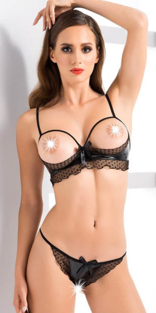 Erotický komplet s otevřenou podprsenkou a kalhotkami