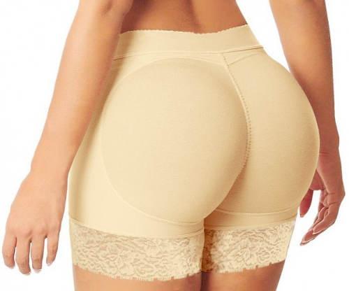 Béžové kalhotky s vycpávkami na zadek