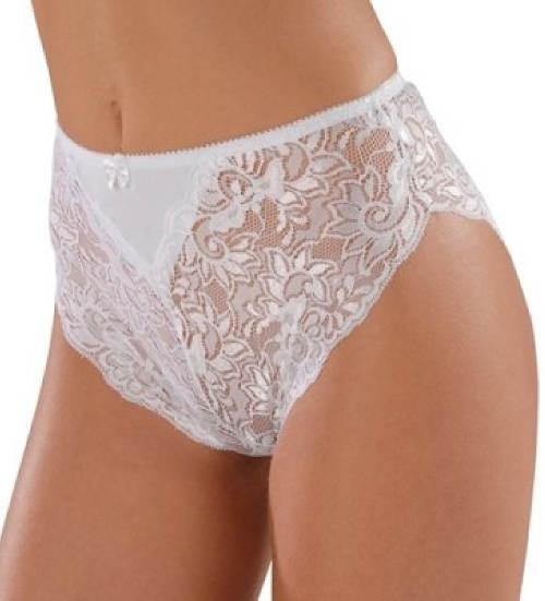 Vysoké bílé krajkové kalhotky