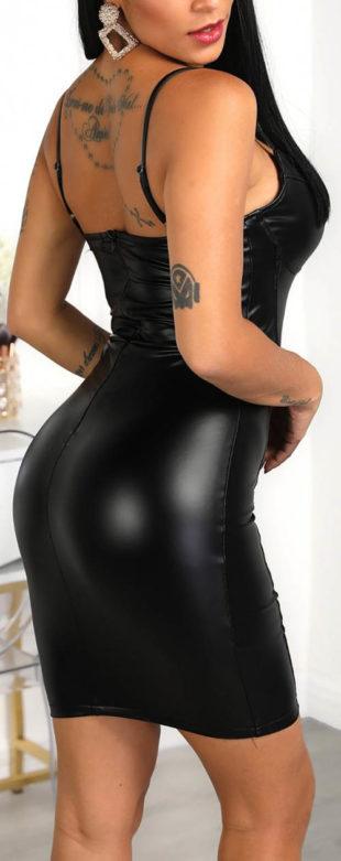 Černé koženkové minišaty