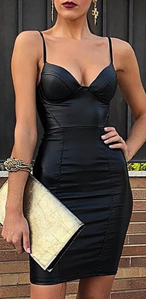Krátké černé šaty umělá kůže