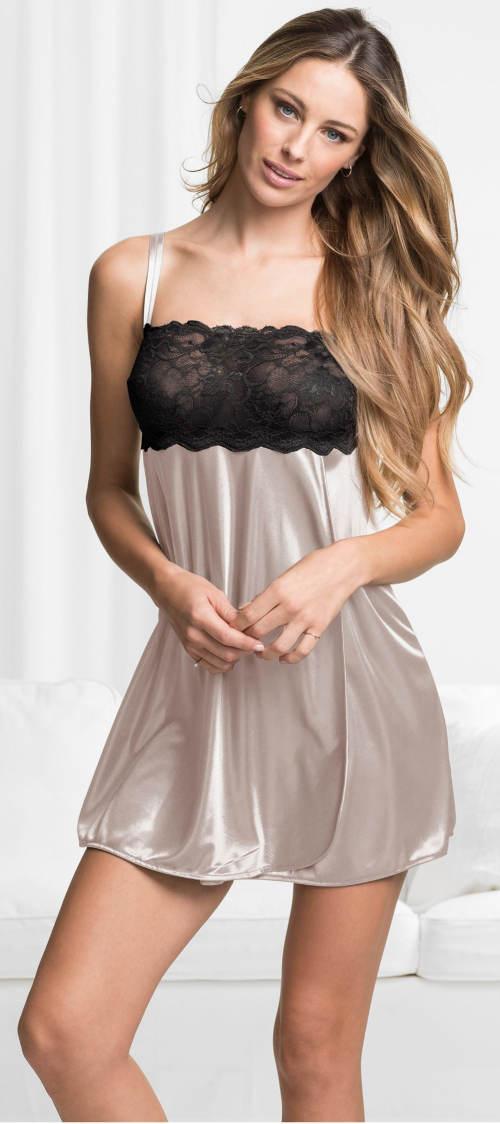Béžovo-černá dámská noční košilka