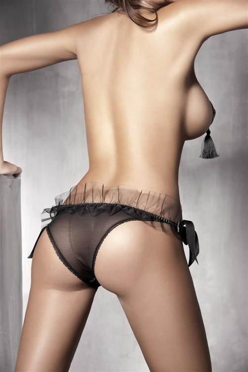 Kalhotky s mašličkami a tylovým volánem