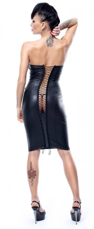 Kožené sexy šaty s vázačkou na zadním díle