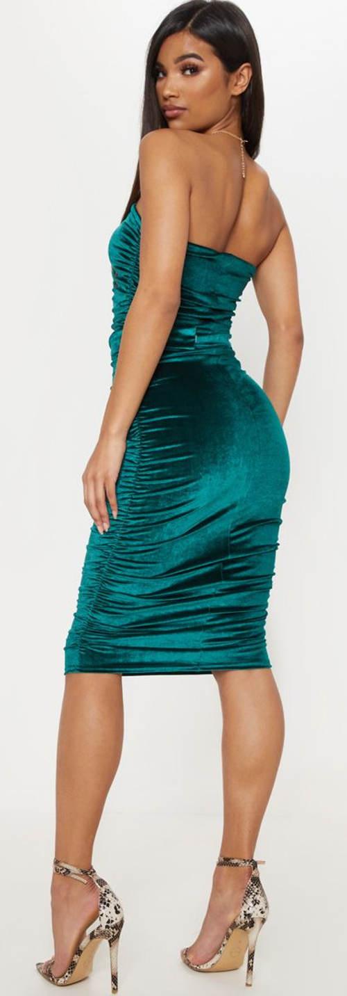 Lesklé petrolejové úplé šaty