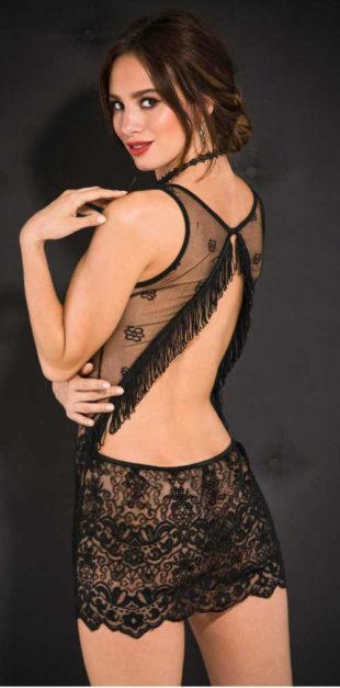 Černé krajkované negliže s třásněmi