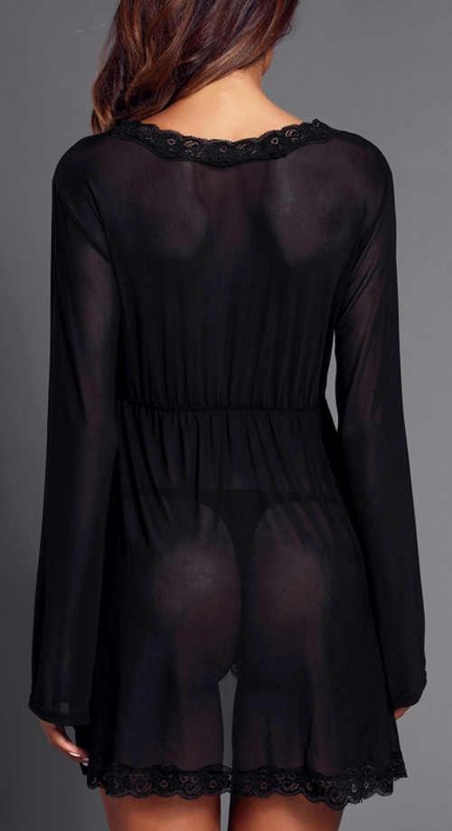 Lehounká průhledná černá noční košilka