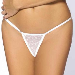 Bílé kalhotky z krajky a délkově nastavitelného rozepínacího pásku