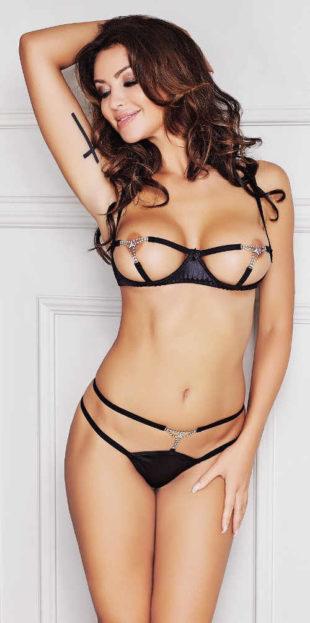 Černý erotický komplet s řetízky otevřená podprsenka a tanga kalhotky
