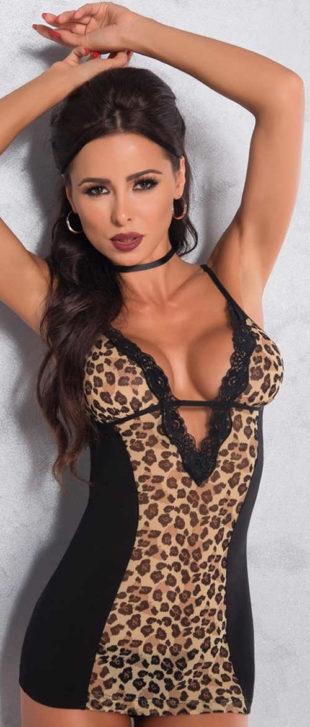 Leopardí dámská košilka i v nadměrných velikostech
