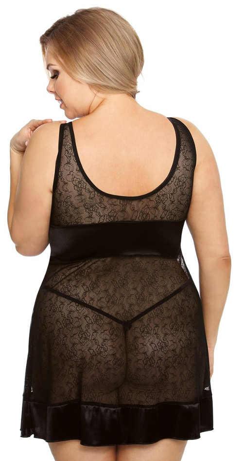 Průhledná černá plus size dámská košilka