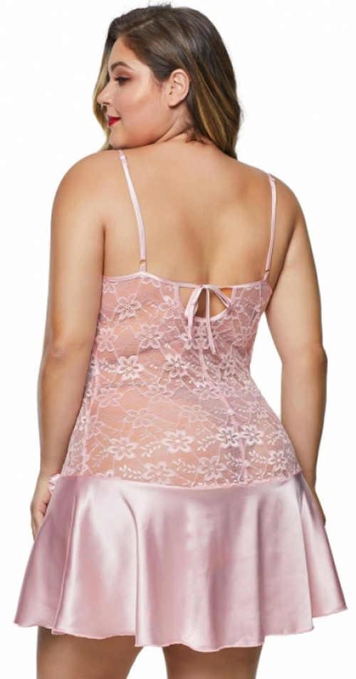 Růžová plus size košilka z krajky a saténu