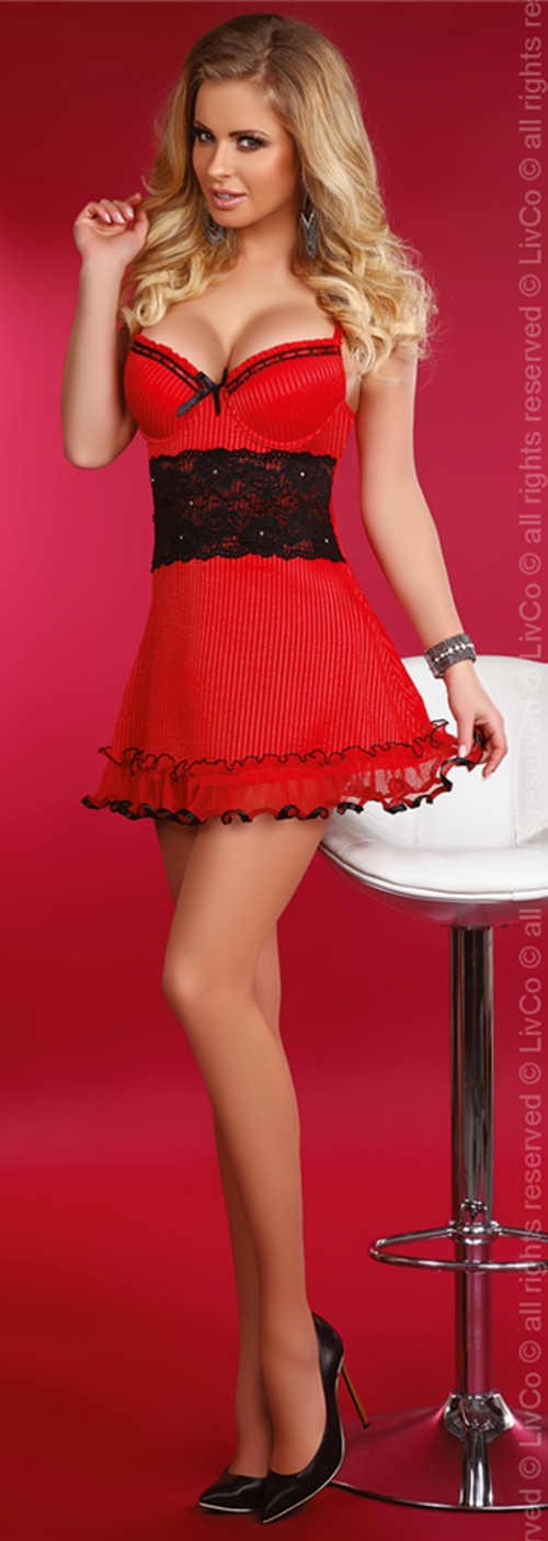 Červená dámská košilka s černou krajkou a kosticemi