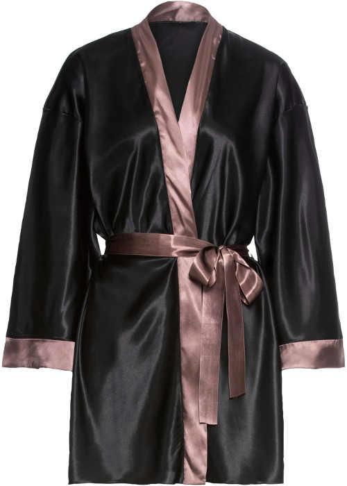 Lehký tmavý dámský kimono župan