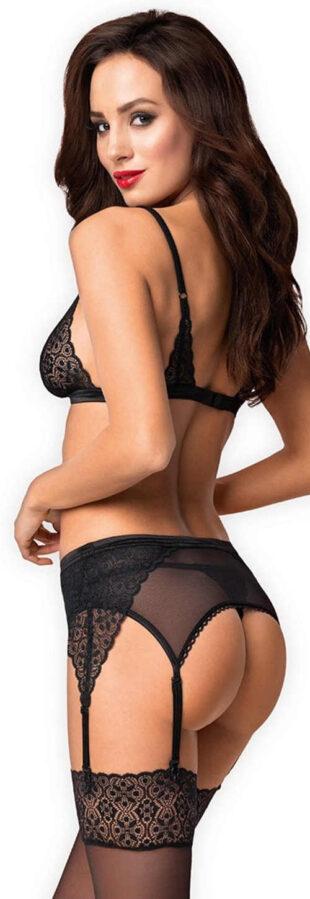 Černý krajkový erotický set Obsessive Shibu - tanga, podprsenka a podvazkový pás