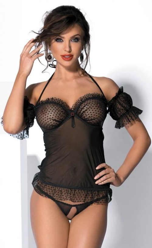 Sexy dámský komplet černá průsvitná košilka a otevřené kalhotky