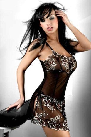 Luxusní sexy košilka s květovaným lemováním a rozparky