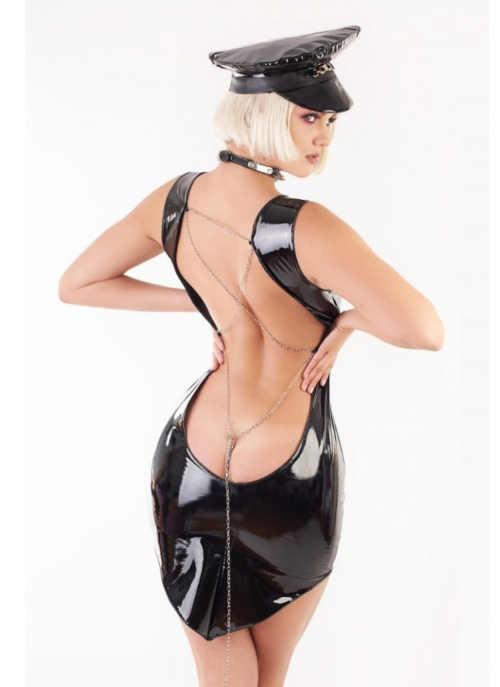 lesklé černé dámské sexy šaty
