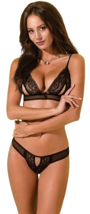 Černý erotický komplet s podprsenkou s průstřihy