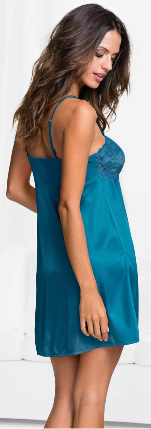 Saténová dámská noční košilka modrozelená petrolejová barva